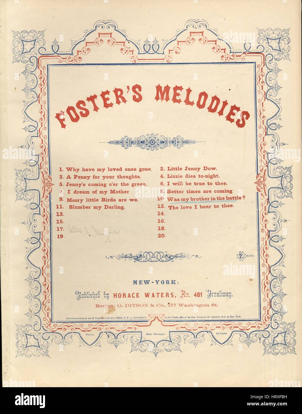 Sheet music cover image of the song 'Foster's Melodies No10