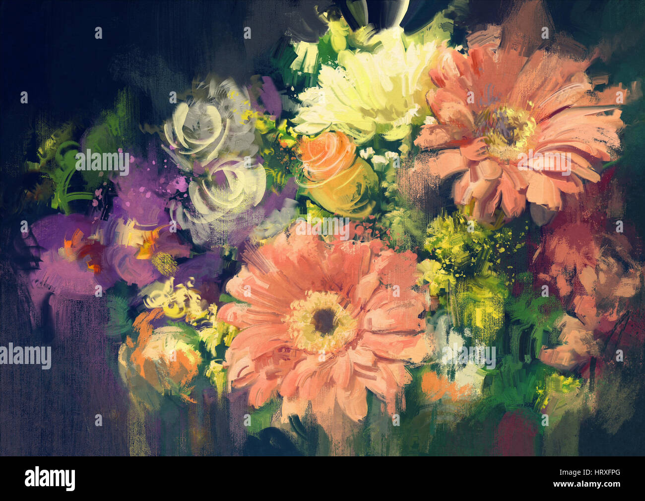 bouquet flowers in oil painting style,illustration - Stock Image
