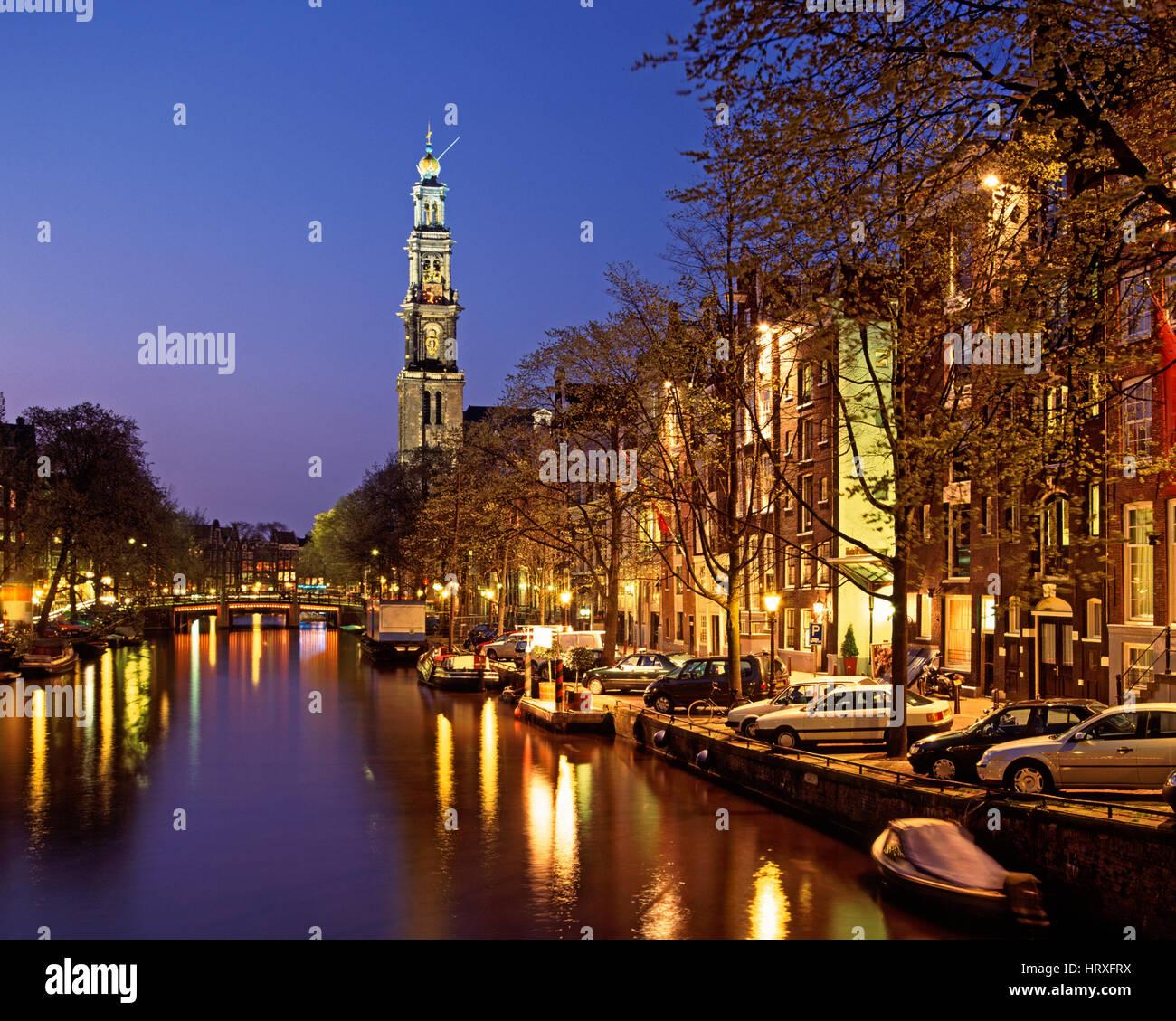 Prinsengracht and Westerkerk, Amsterdam, Holland, Netherlands. - Stock Image