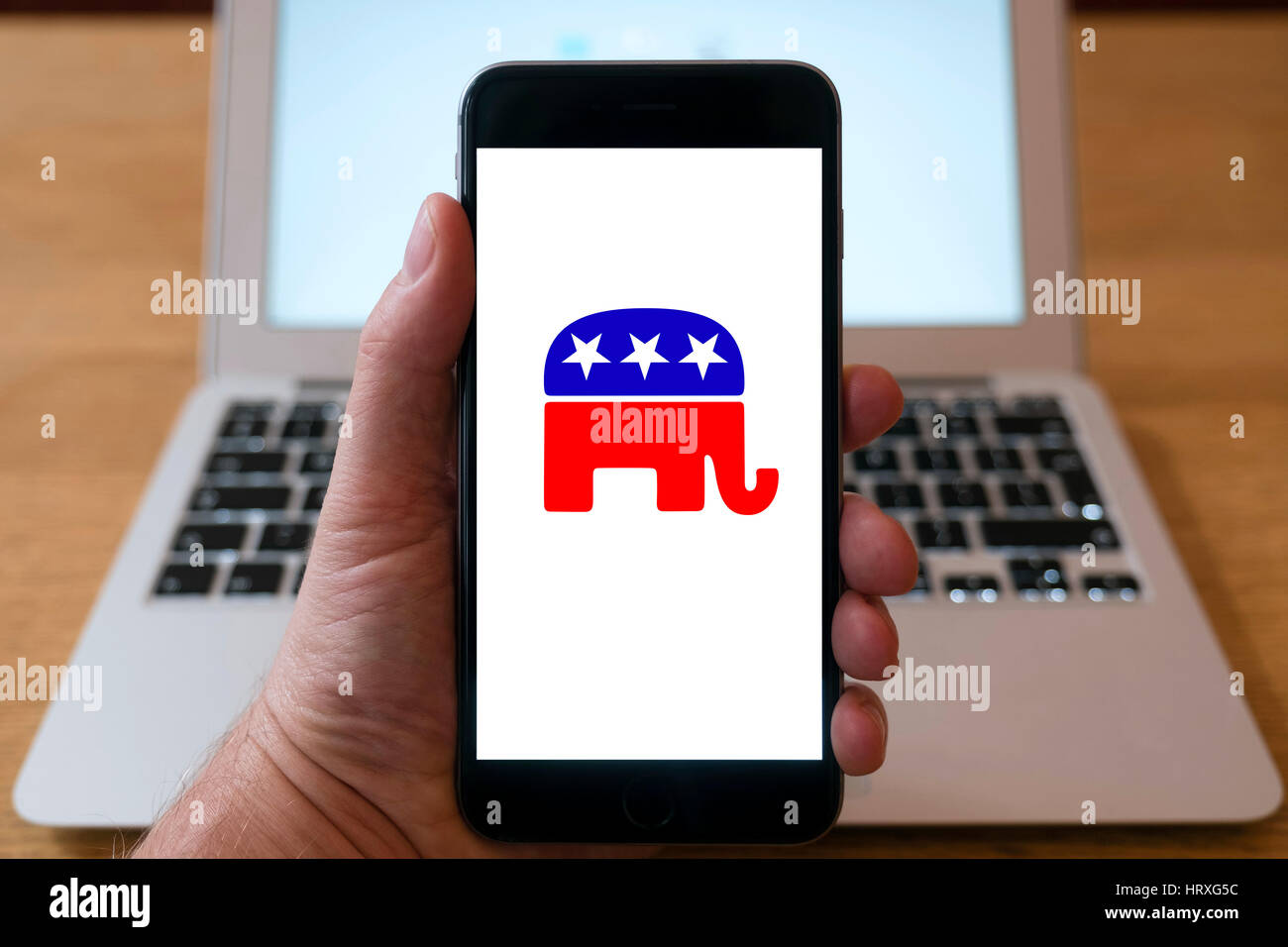 Republican political party logo on smart phone screen. - Stock Image