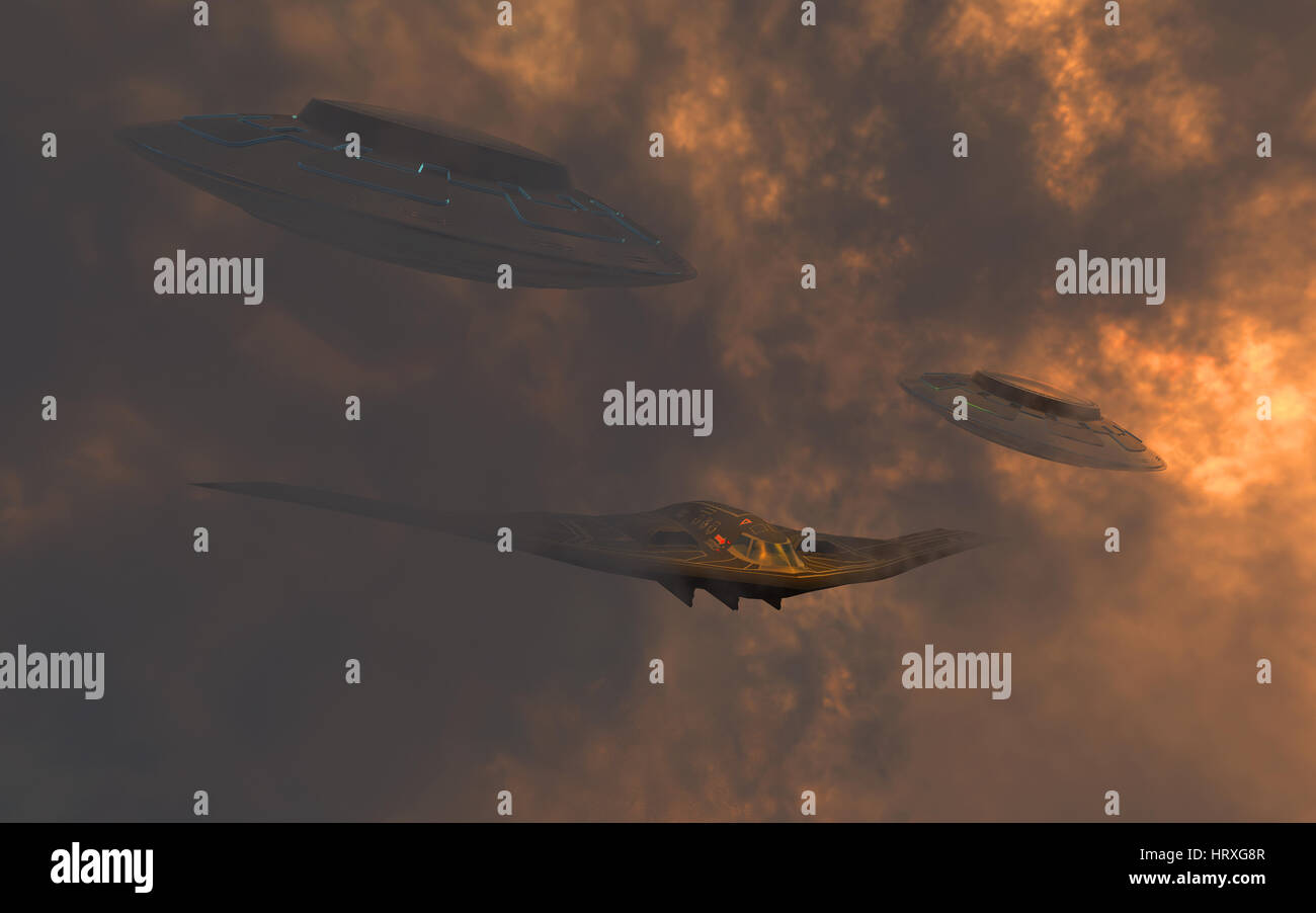 A B-2 Spirit Stealth Bomber , Begin Escorted Through Heavy Cloud Formations , By 2 Flying Saucers. - Stock Image