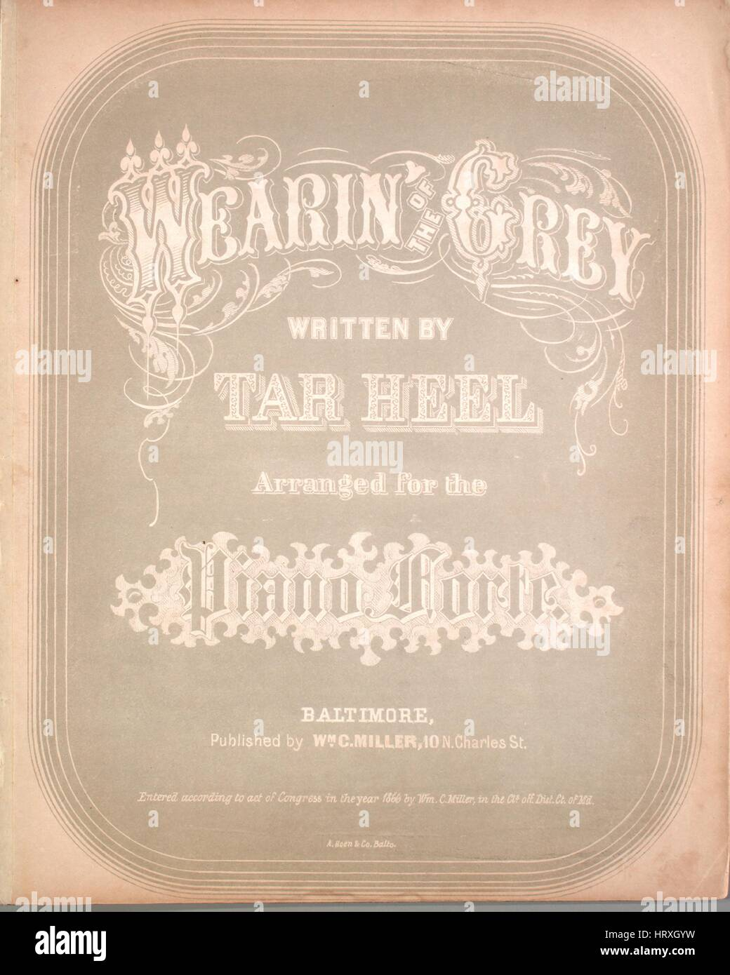 Sheet music cover image of the song 'Wearin' of the Grey', with original authorship notes reading 'Written by Tar Stock Photo