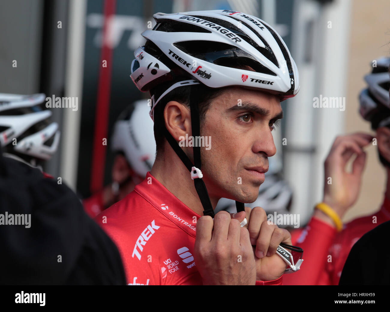 9ef5fd8cd Alberto Contador adjust his helmet with his new team jersey Trek Segafredo  before a training session in the island of Majorca