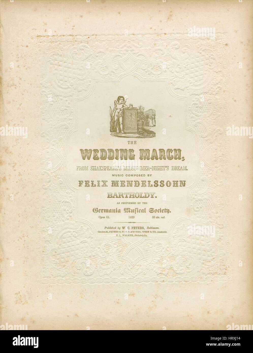 Wedding March Song.Sheet Music Cover Image Of The Song The Wedding March From Stock