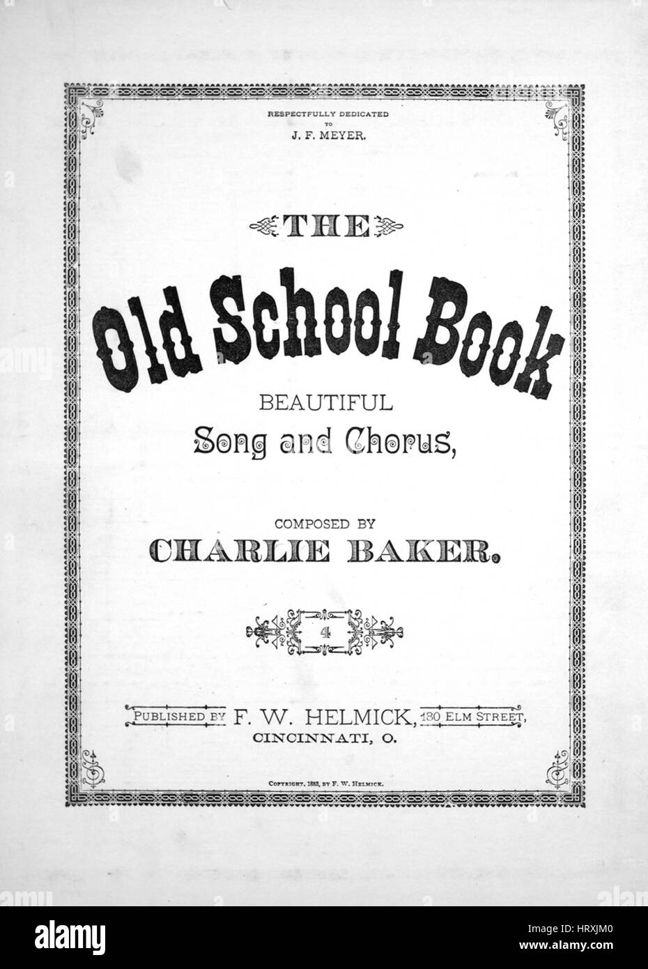 Sheet music cover image of the song 'The Old School Book Beautiful Song and Chorus', with original authorship - Stock Image
