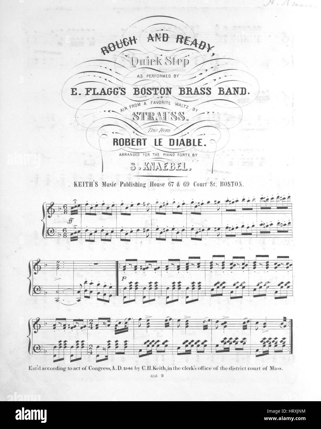 sheet music cover image of the song rough and ready quick step with original authorship notes reading air from a favorite waltz by strauss trio from