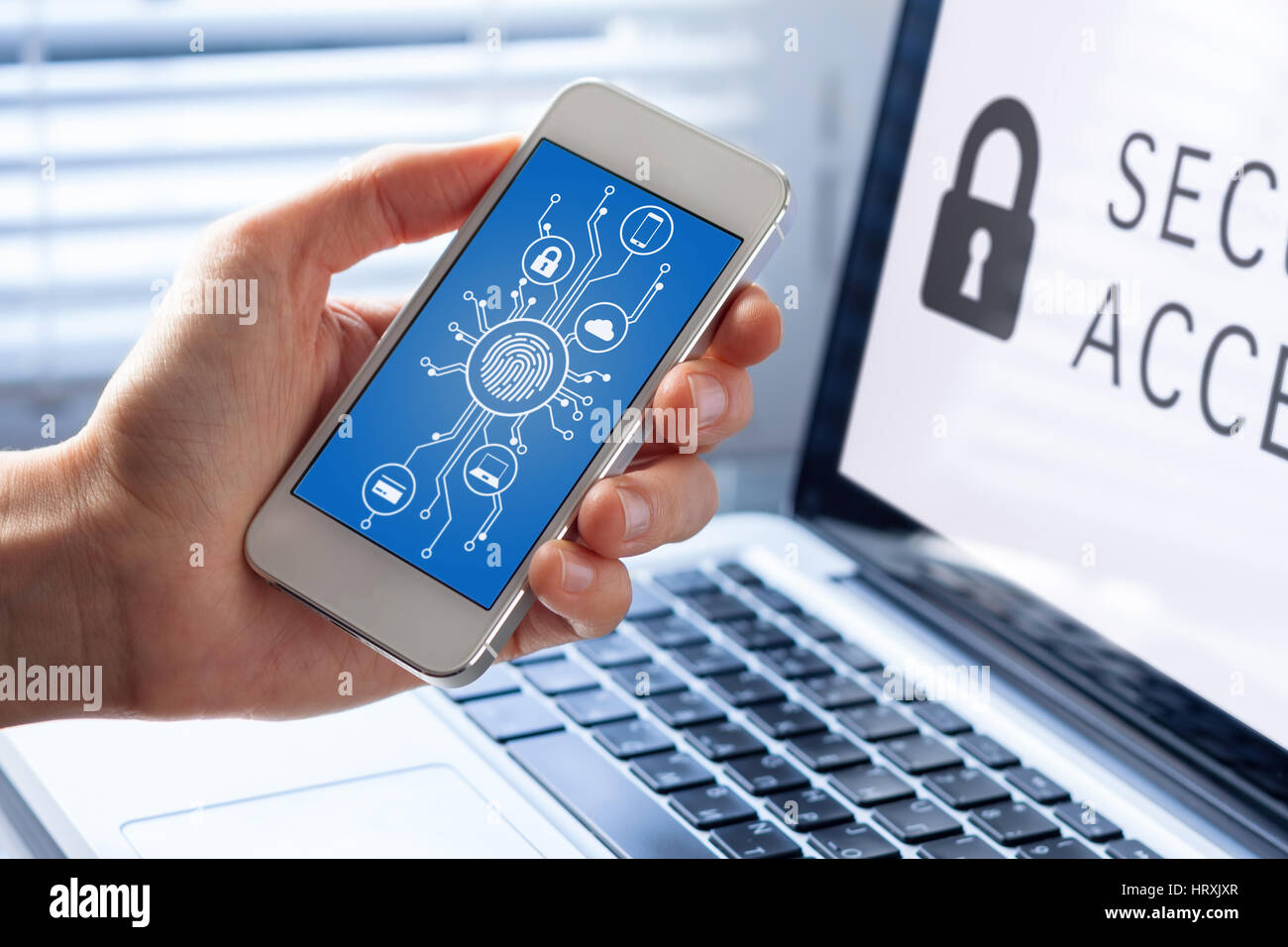 Mobile phone cyber security concept with a person showing