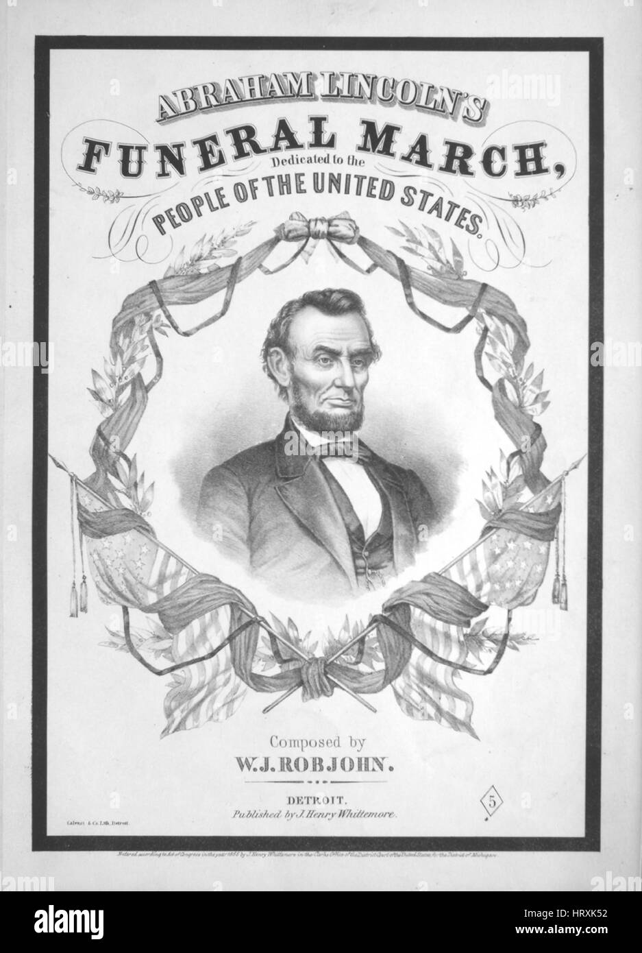 Sheet music cover image of the song 'Abraham Lincoln's Funeral March', with original authorship notes - Stock Image