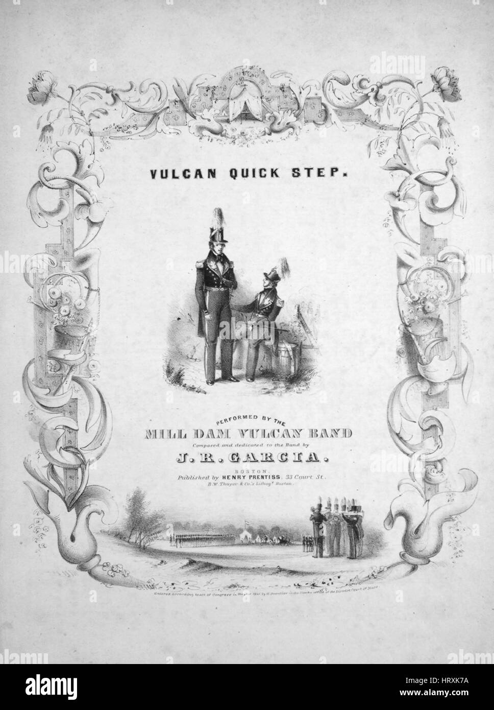 Sheet music cover image of the song 'Vulcan Quick Step', with original authorship notes reading 'Composed - Stock Image
