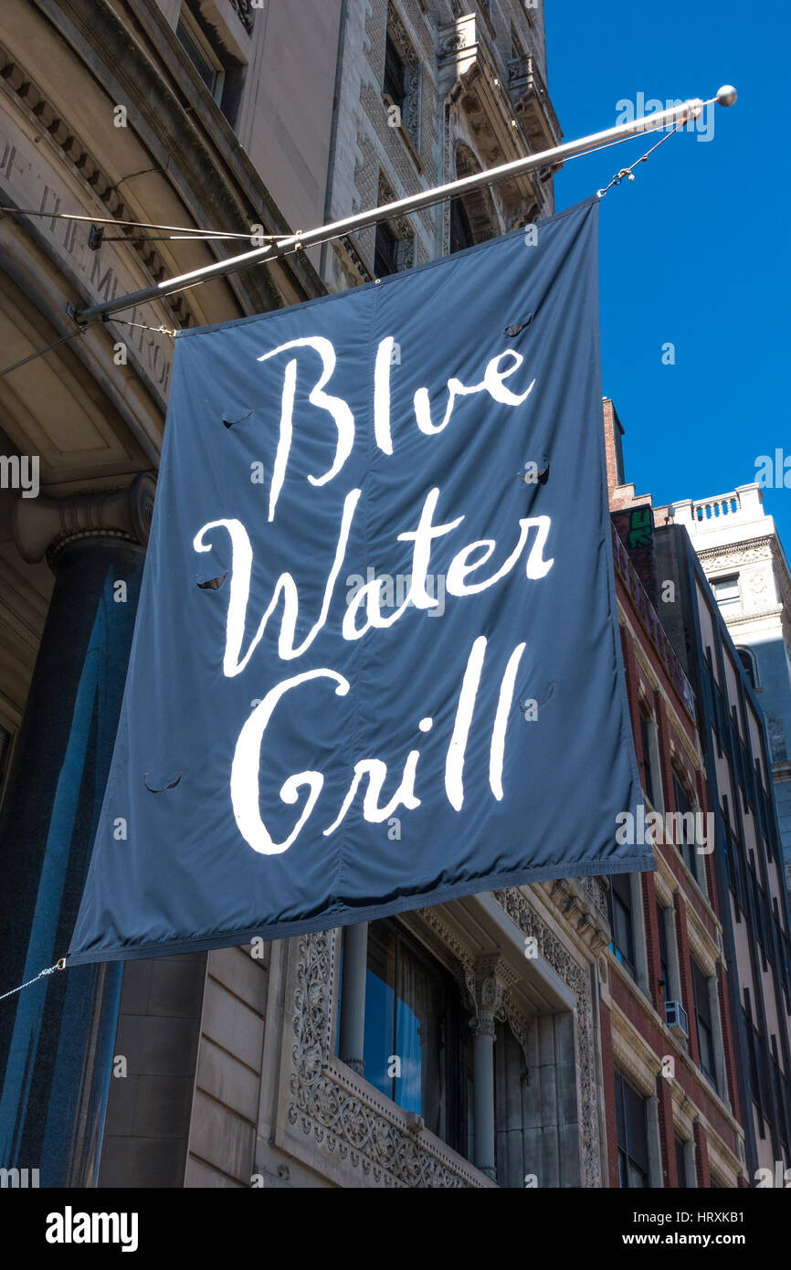 Advertising flag outside the Blue Water Grill in New York City - Stock Image