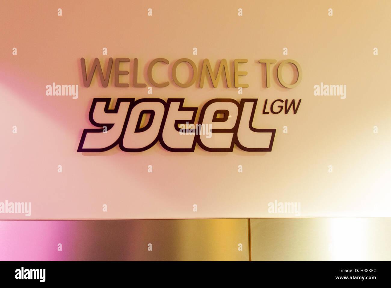 Yotel pod or capsule hotel, Gatwick Airport, England, United Kingdom. - Stock Image