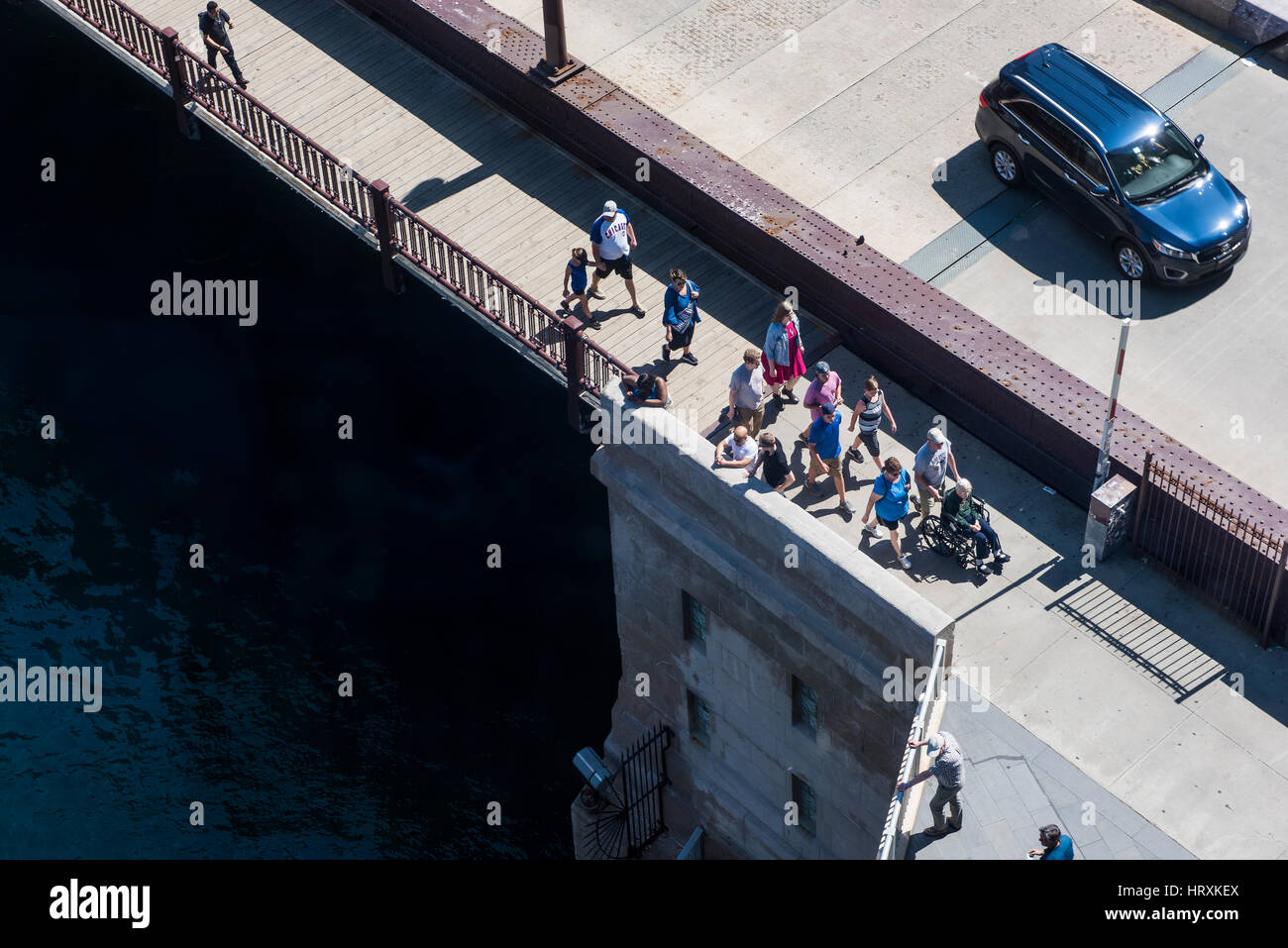 Chicago, USA - May 30, 2016: Aerial view of people walking on DuSable bridge in downtown Stock Photo