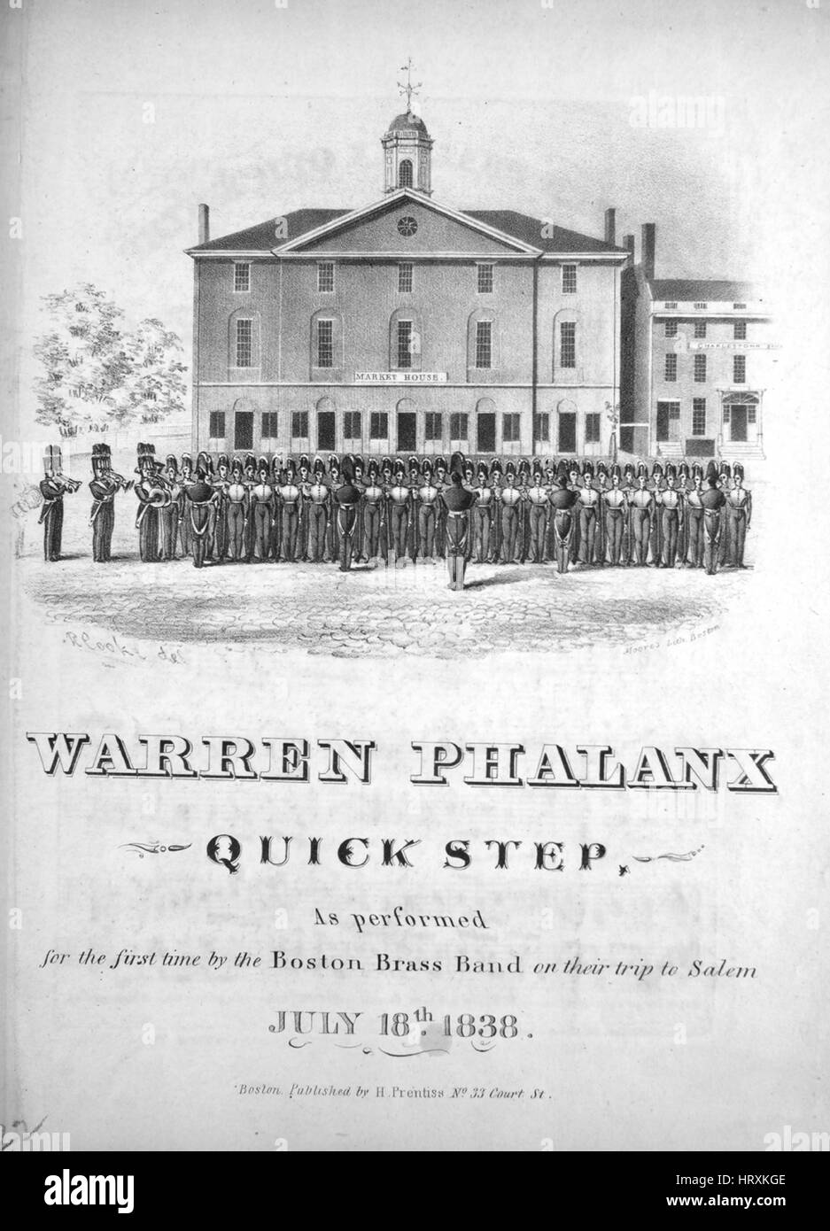 Sheet music cover image of the song 'Warren Phalanx Quick Step', with original authorship notes reading - Stock Image