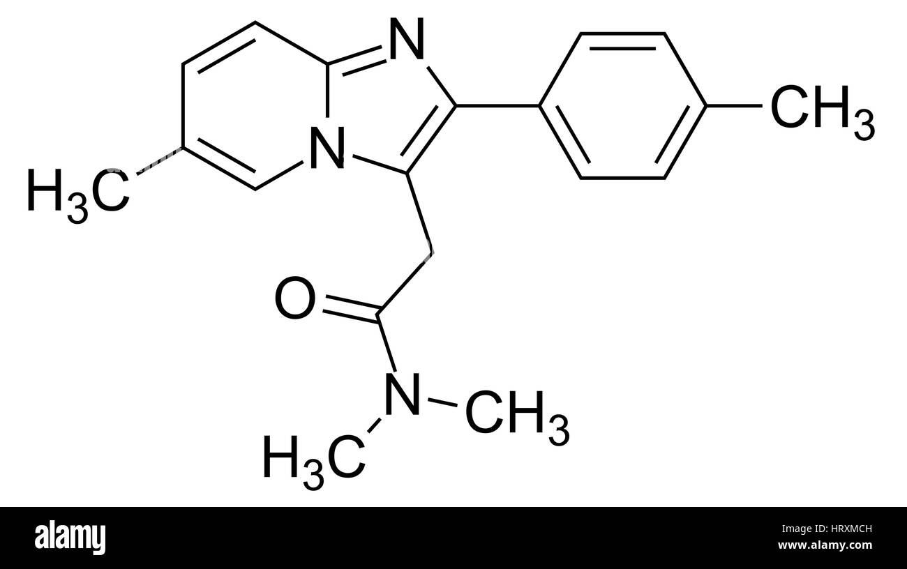 Zolpidem. Skeletal formula of the drug Zolpidem (C19.H21.N3.O), a short-acting non-benzodiazepine hypnotic used - Stock Image
