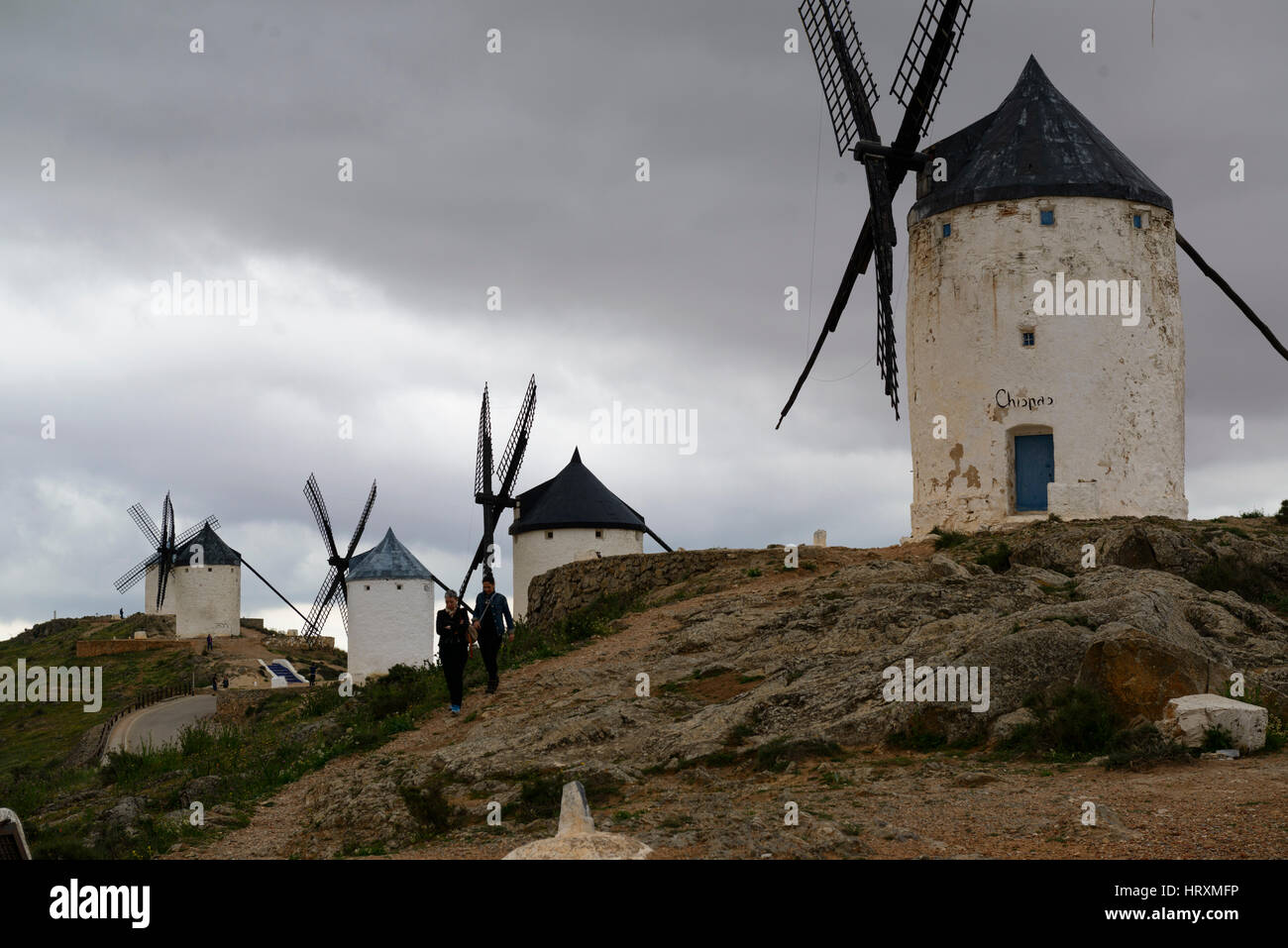The famous mills of Consuegra, province of Toledo, Castile-La Mancha, Spain - Stock Image
