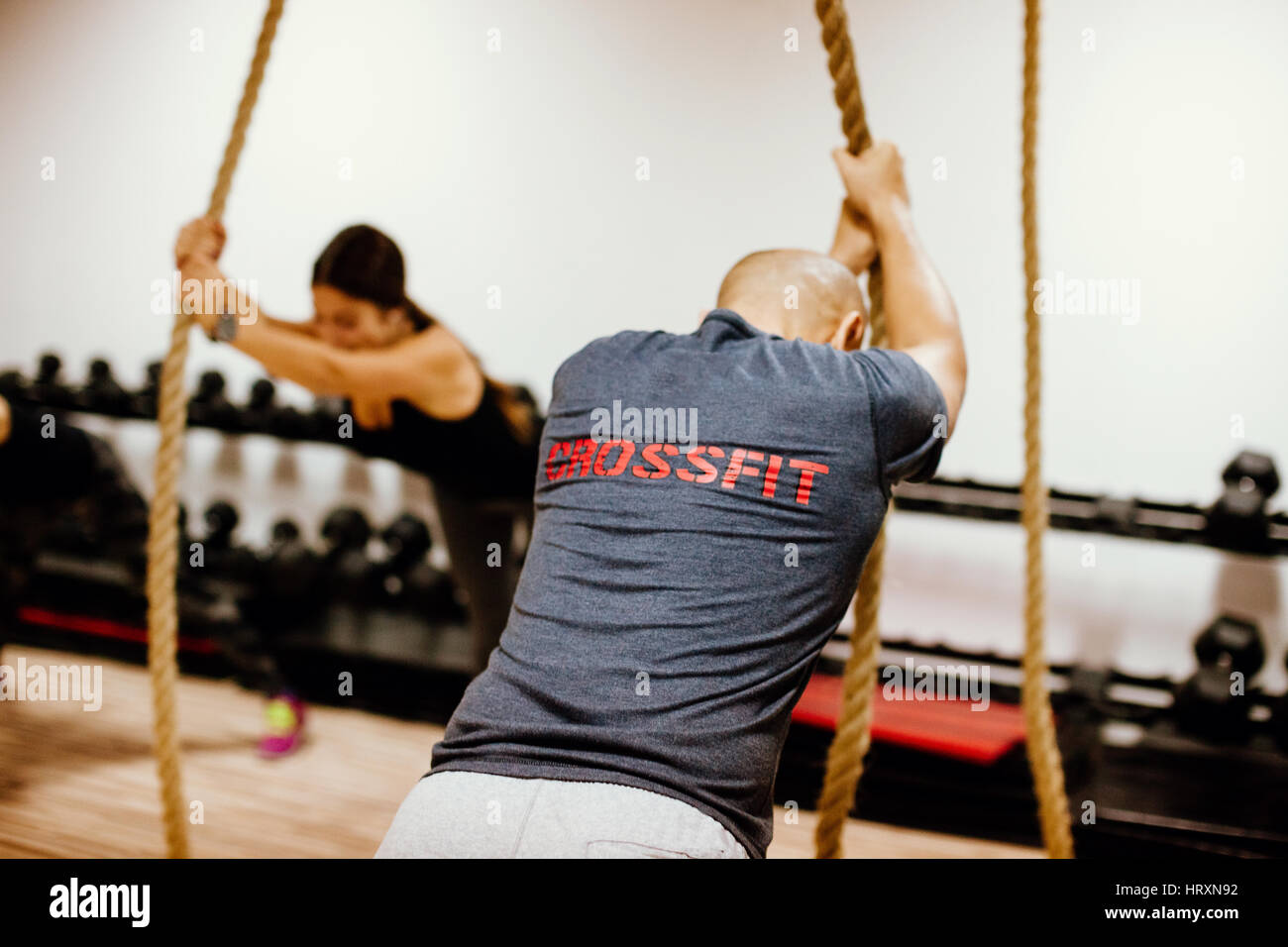 crossfit group training. Group training indoors. - Stock Image