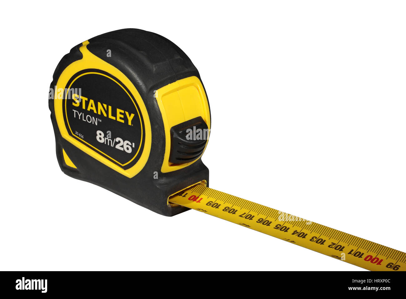 Stanley Tylon yellow 8m 8 metre 26 foot 26 feet retractable steel tape measure isolated on a white background - Stock Image