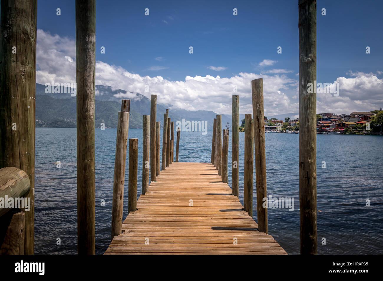 Small wooden pier at Atitlan Lake - San Pedro la Laguna, Guatemala - Stock Image