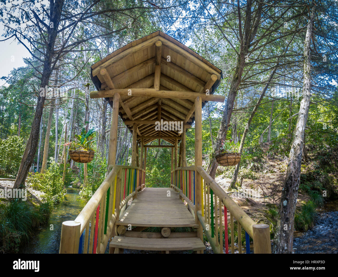 Inside View Of Small Colorful Covered Wooden Bridge Parque Arvi