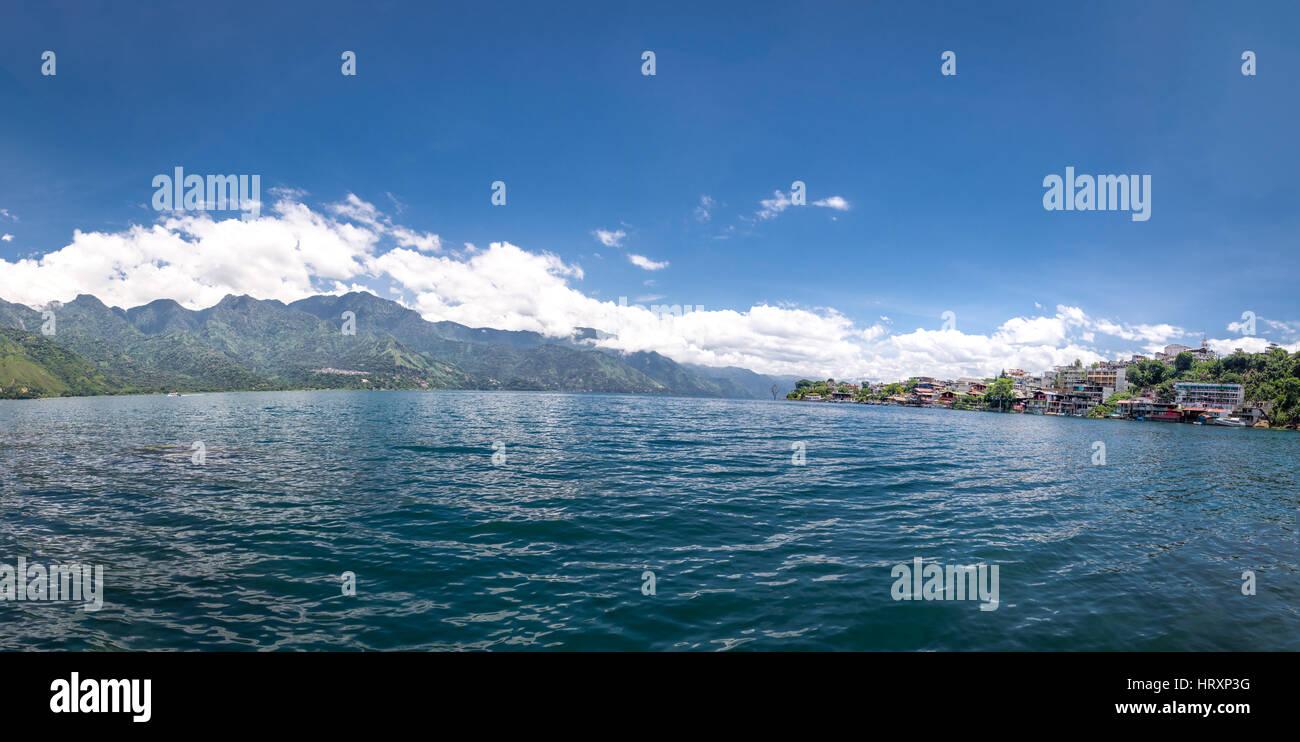 Panoramic view of Atitlan lake and San Pedro la Laguna - Guatemala - Stock Image