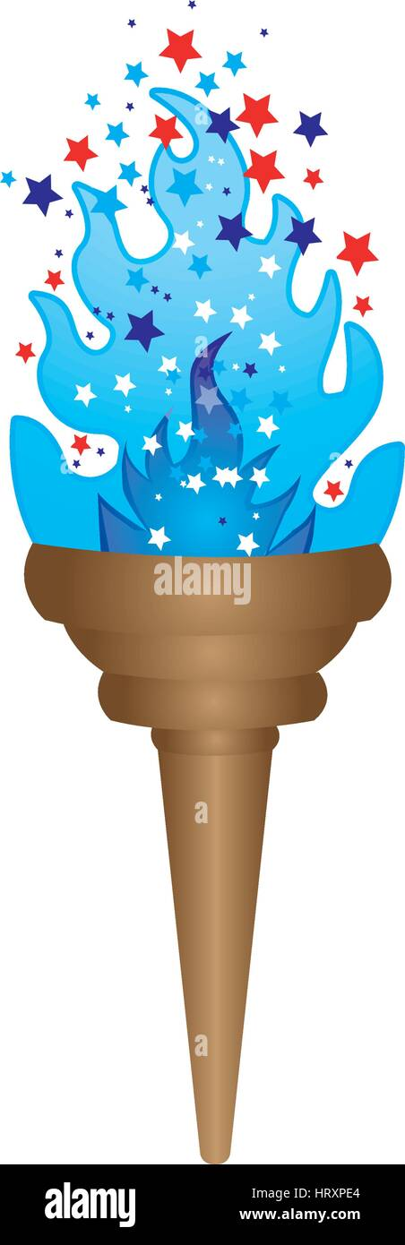 olympic torch with blue flame vector illustration - Stock Vector