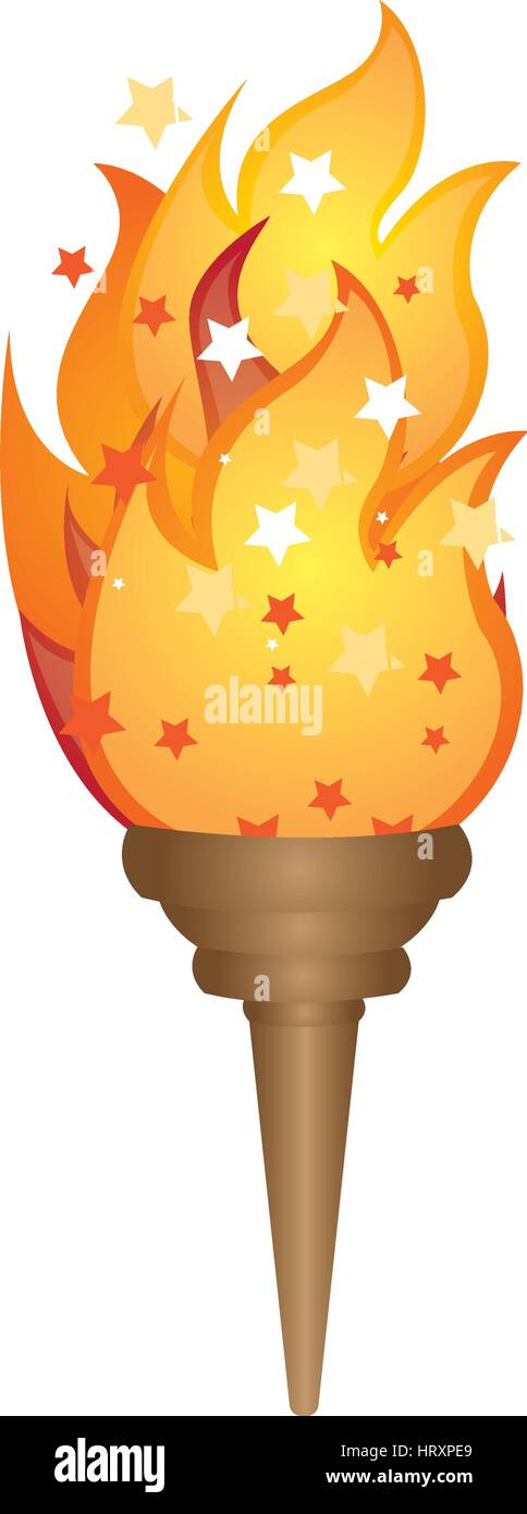 olympic torch with yellow flame vector illustration - Stock Vector