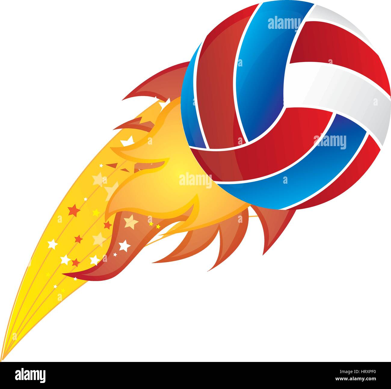 colorful olympic flame with volleyball ball vector illustration - Stock Vector