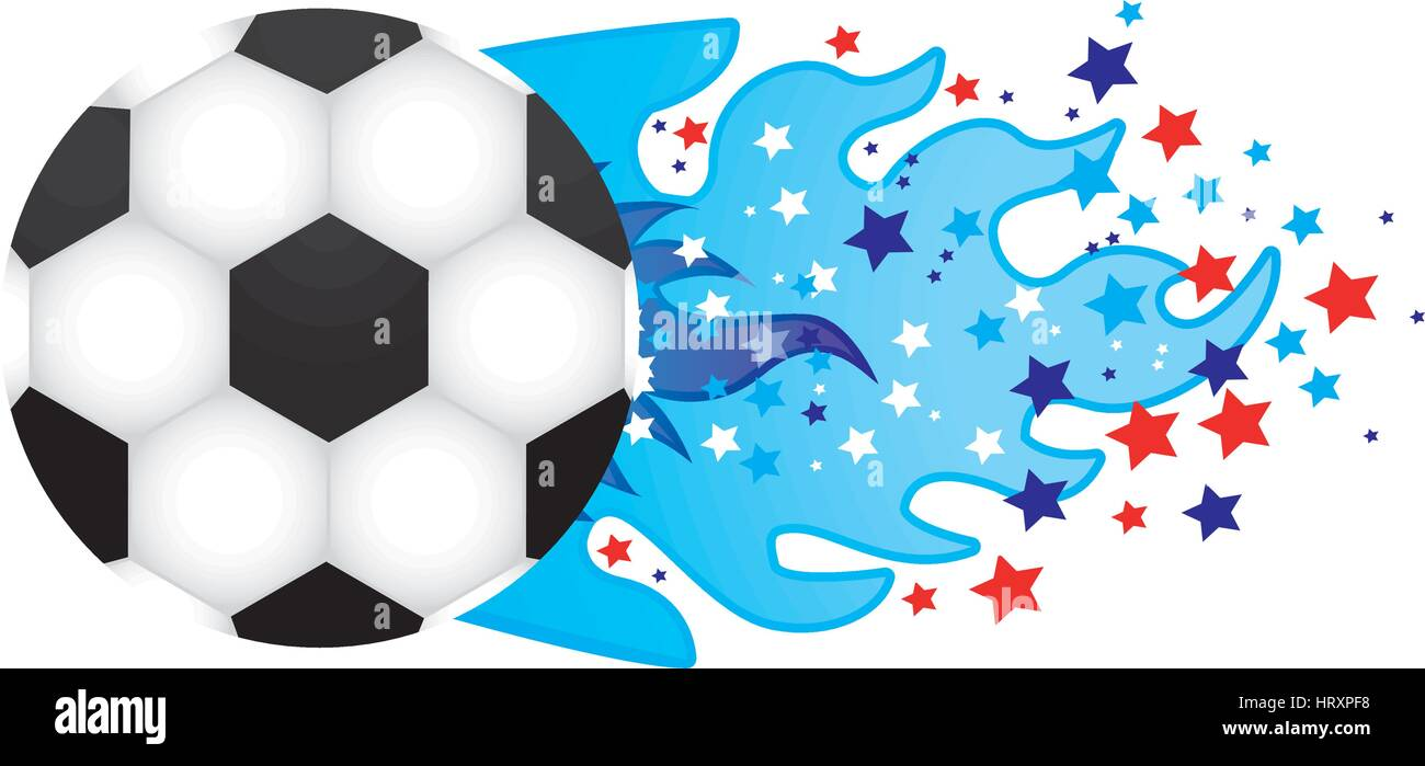 colorful olympic flame with stars and soccer ball vector illustration - Stock Vector
