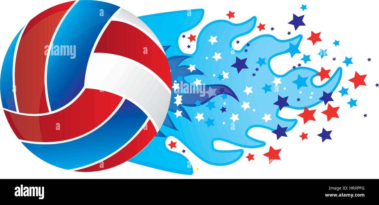 colorful olympic flame with stars and volleyball ball vector illustration - Stock Vector