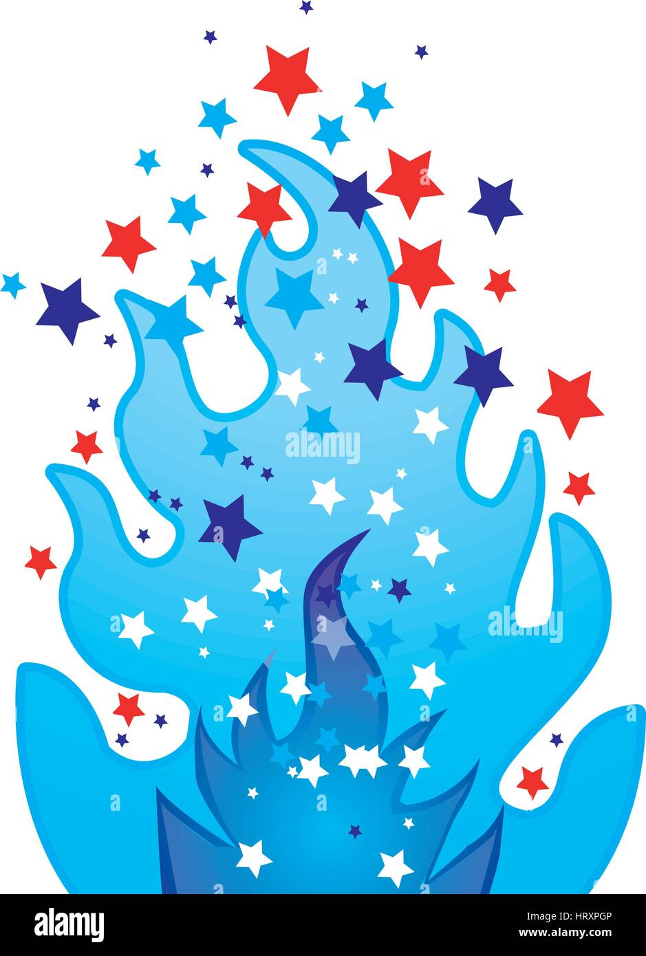 colorful silhouette with blue olympic flame with stars vector illustration - Stock Vector