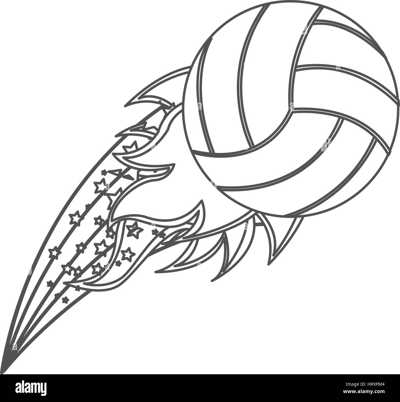 grayscale contour with olympic flame with volleyball ball - Stock Vector