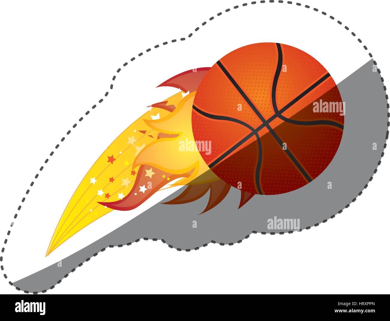 sticker colorful olympic flame with basketball ball - Stock Vector