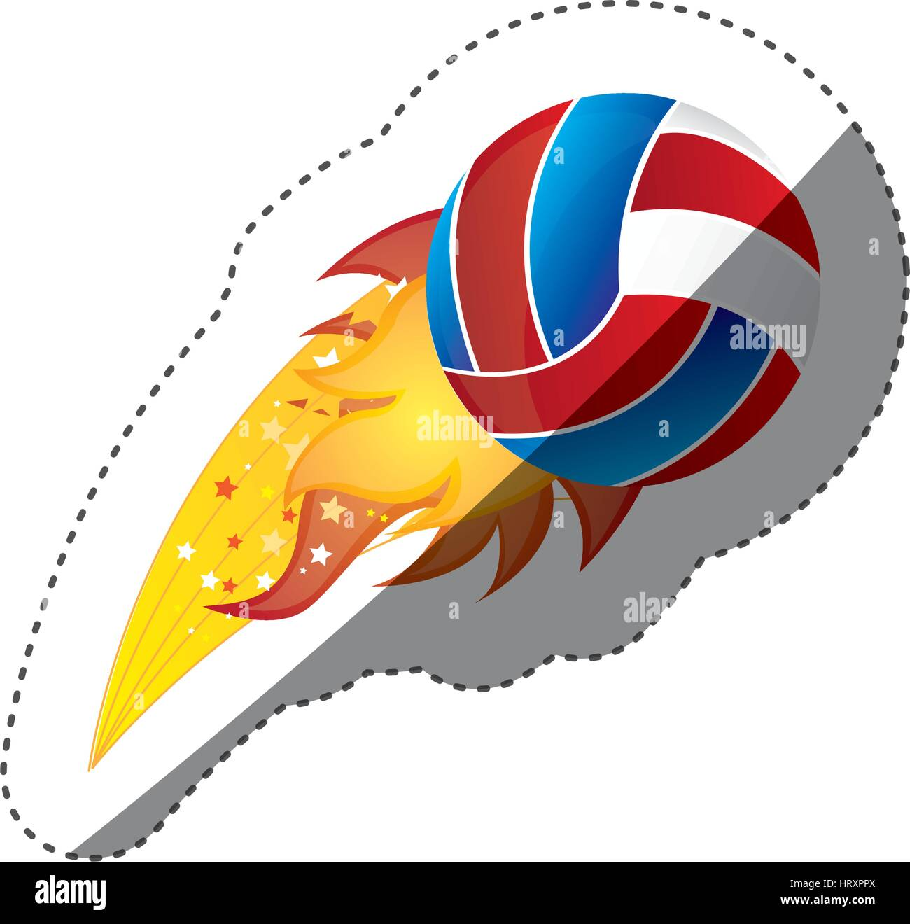 sticker colorful olympic flame with volleyball ball - Stock Image
