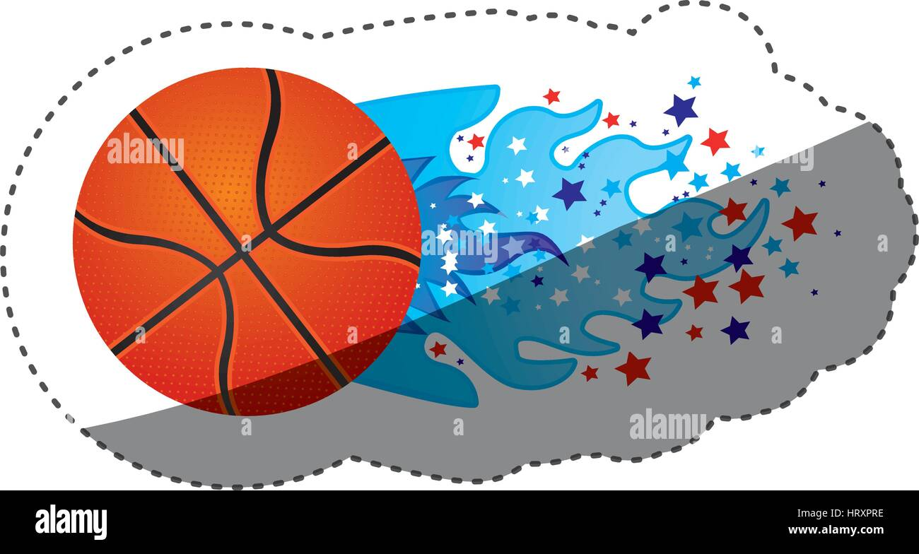 sticker colorful olympic flame with stars and basketball ball - Stock Vector