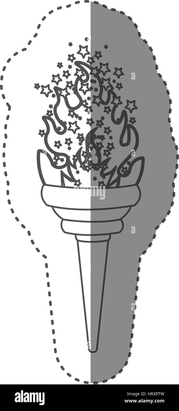 sticker grayscale contour with olympic torch flame with stars - Stock Vector