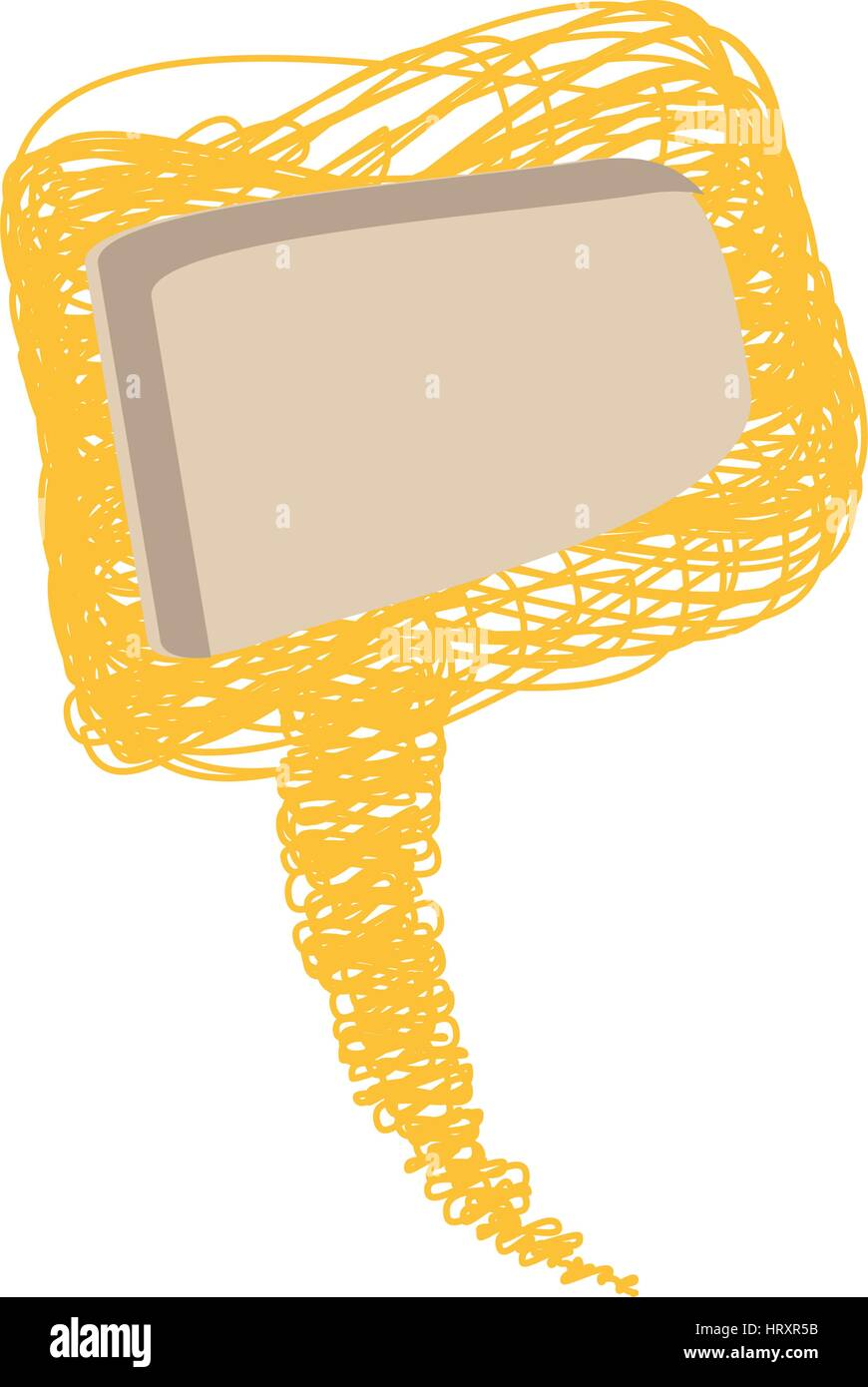 yellow scribble square dialog box design - Stock Image