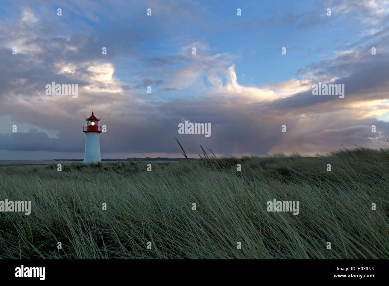 Lighthouse List West, Elbow, Sylt, North Frisia, Germany, Europe - Stock Image