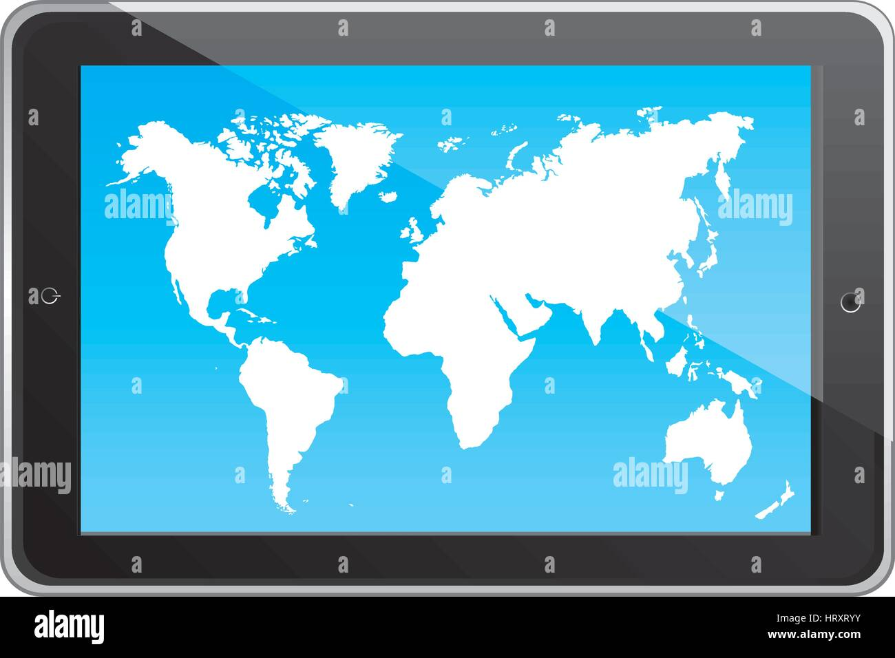 Color Silhouette Tablet In Horizontal Position And World Map Stock - World map screen wallpaper