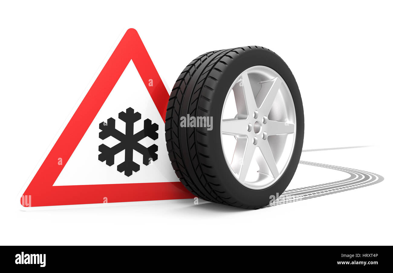 Traffic sign with winter symbol, car tire with track isolated on white background 3D rendering - Stock Image