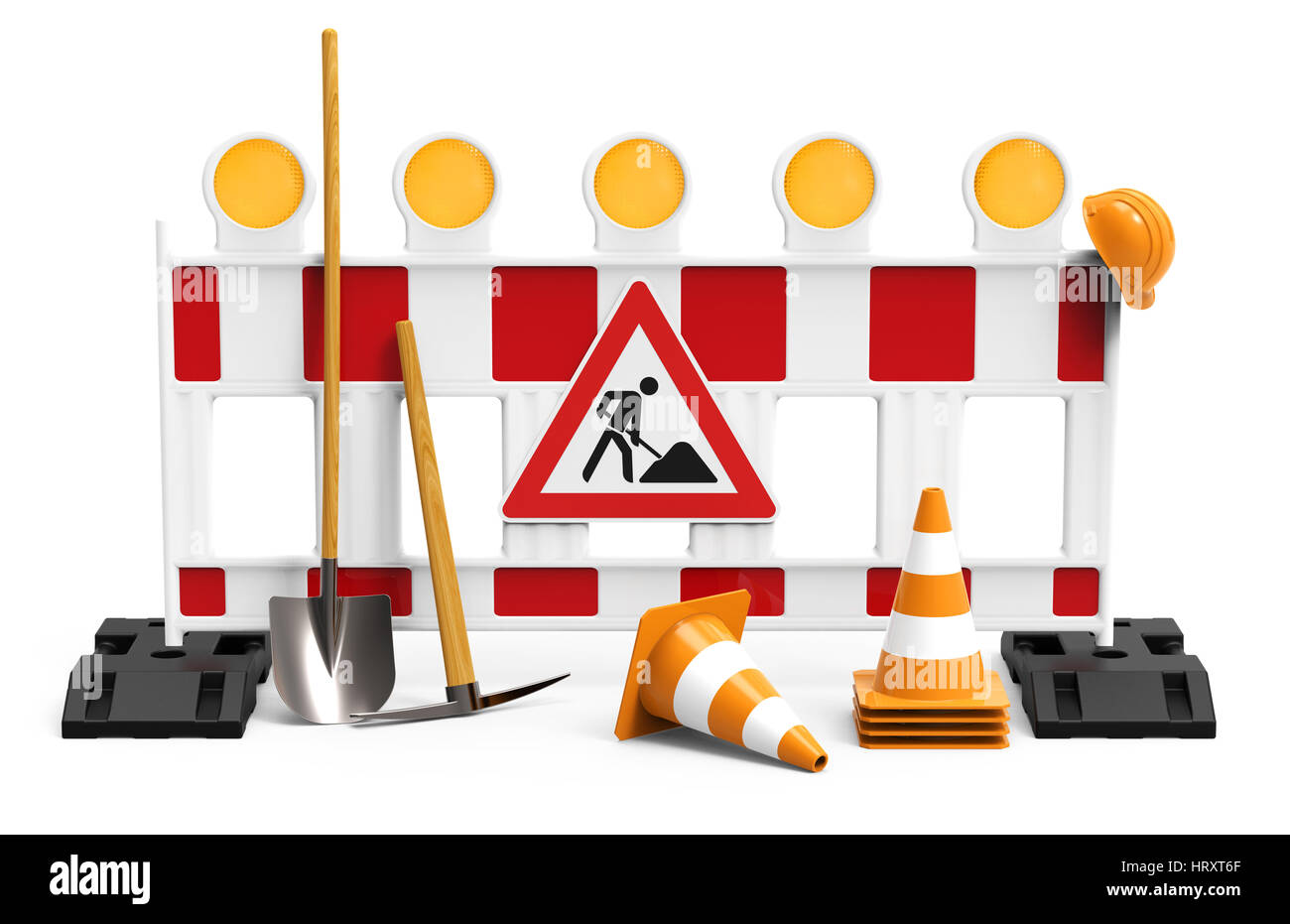 Street barrier with shovel, traffic sign, traffic cone and safety helmet, isolated on white background 3D rendering Stock Photo