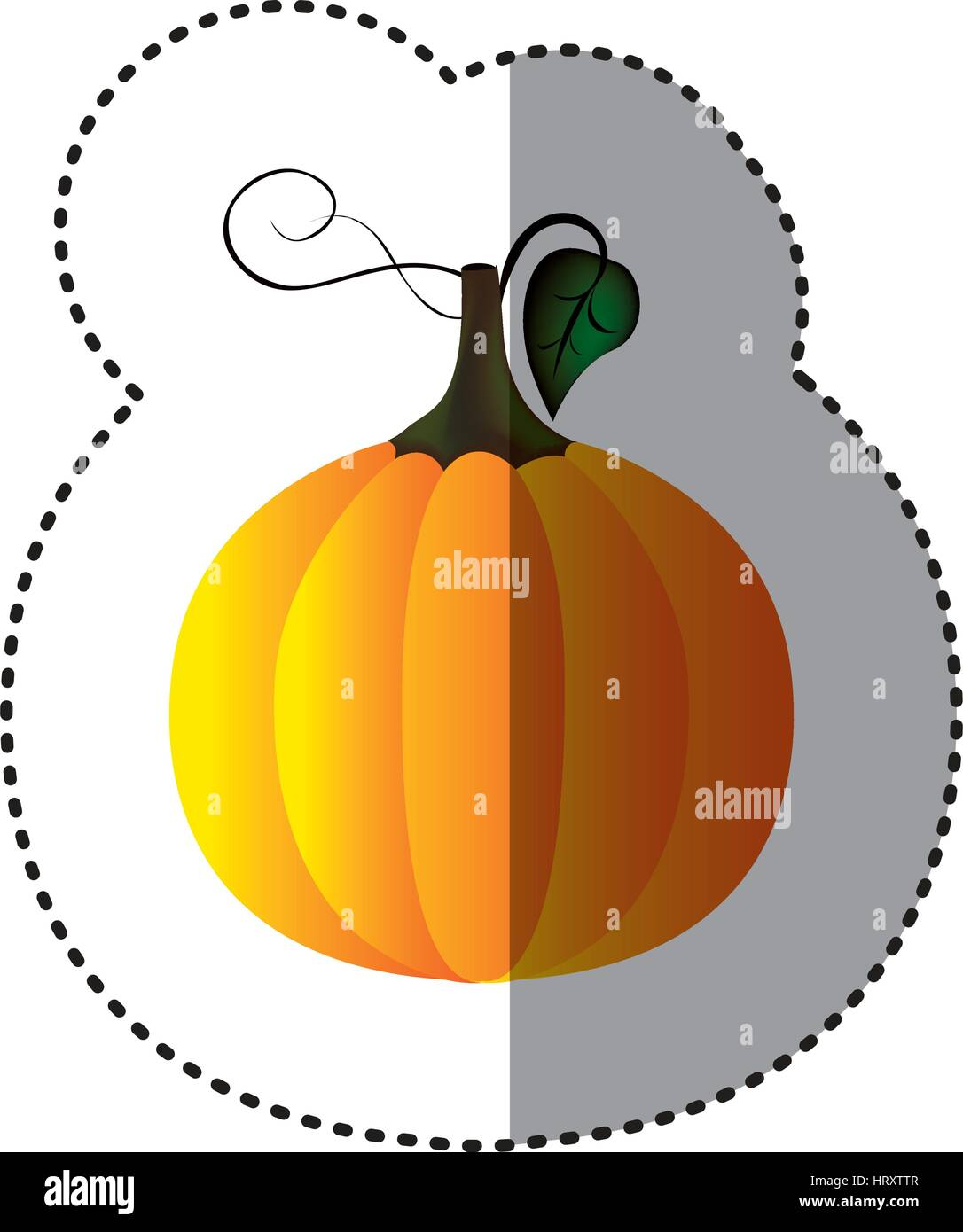 sticker colorful pumpkin vegetable halloween icon