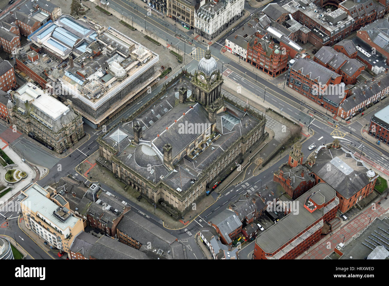 aerial view of Leeds Town Hall, West Yorkshire, UK - Stock Image