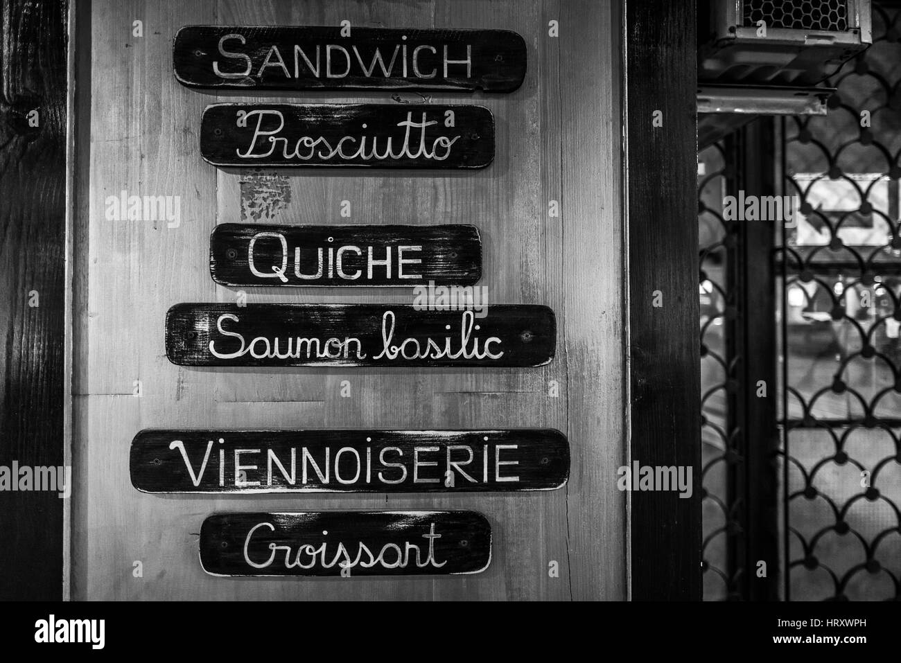 Food Menu on the Wall of a Restaurant from Bucharest, Romania - Stock Image