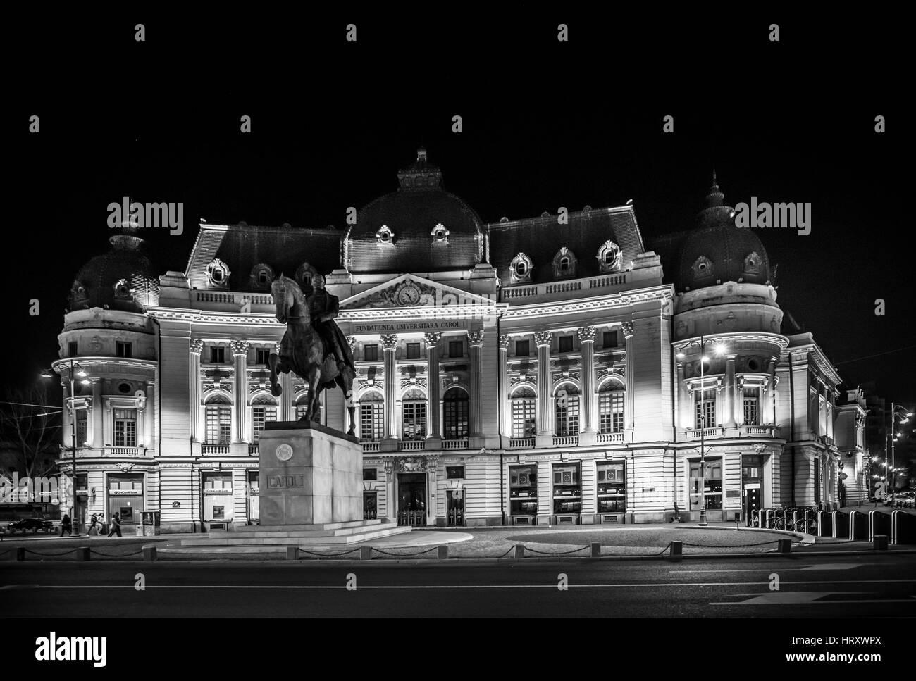 Fundatiunea Universitara Carol I, Bucharest, Calea Victoriei, Romanian Atheneum - Stock Image