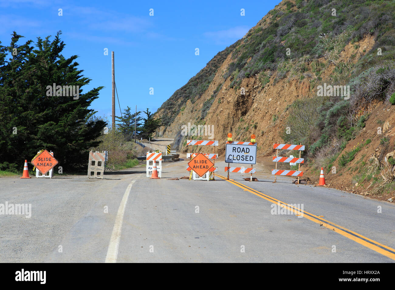 Pacific coast highway(PCH) road closed at Ragged Point .California's coastal Highway 1 is temporarily closed - Stock Image