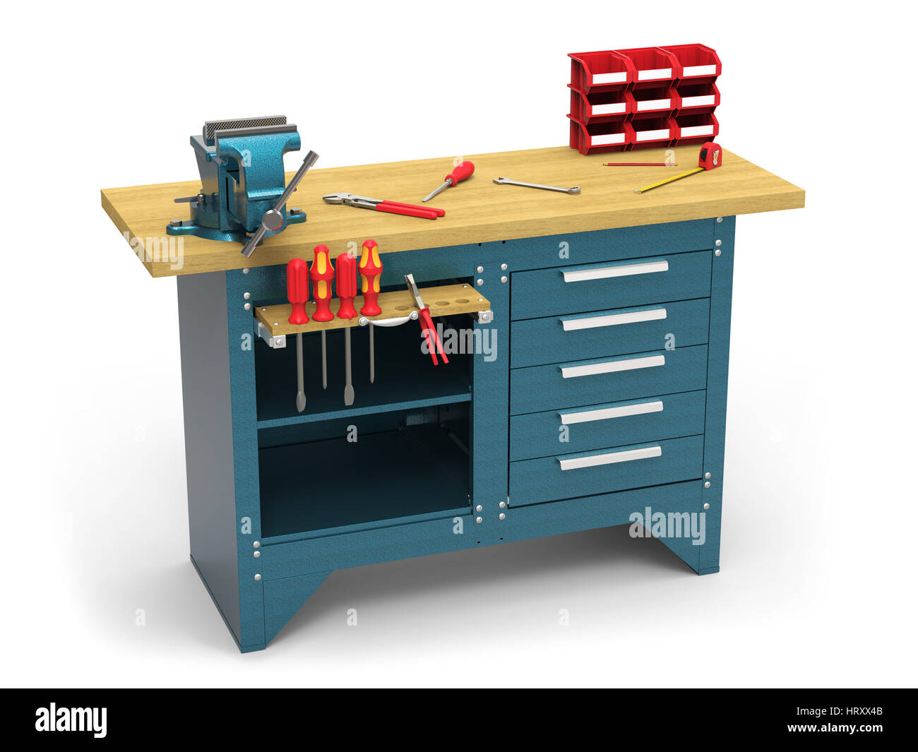 Wondrous Work Bench With Tools On White Background 3D Rendering Stock Pabps2019 Chair Design Images Pabps2019Com