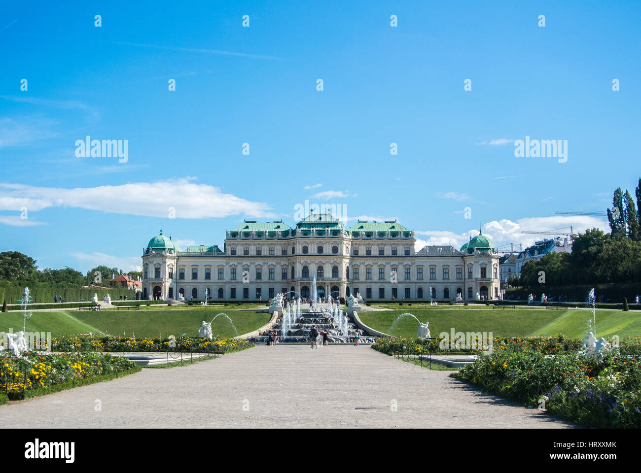 VIENNA, AUSTRIA - JULY 29, 2016: A view of palace Belvedere in Vienna (Austria) and its garden on sunny summer day. - Stock Image
