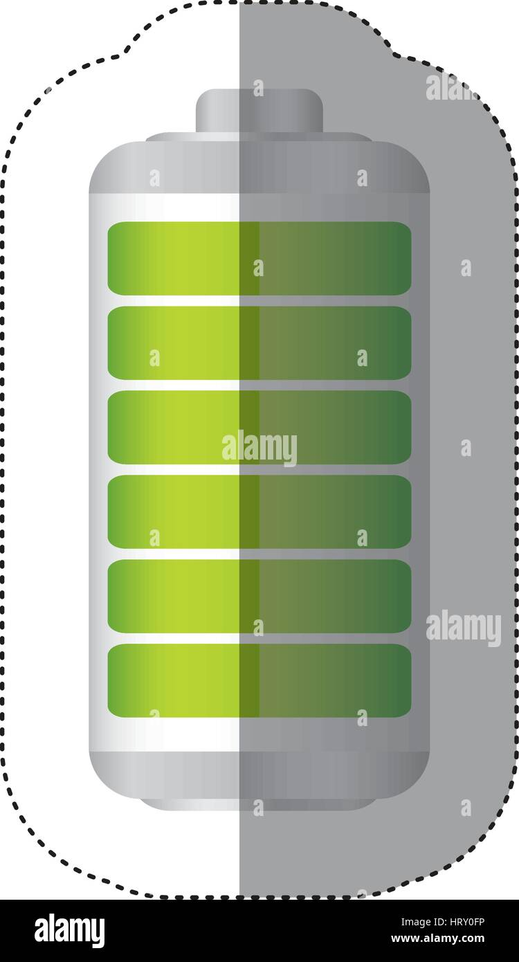 sticker battery symbol with full charge - Stock Vector