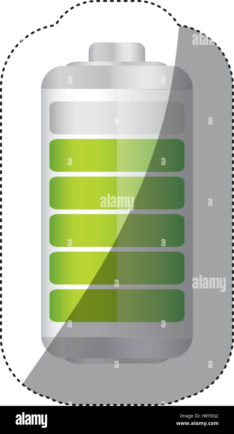 sticker battery symbol with level indicator charge - Stock Vector
