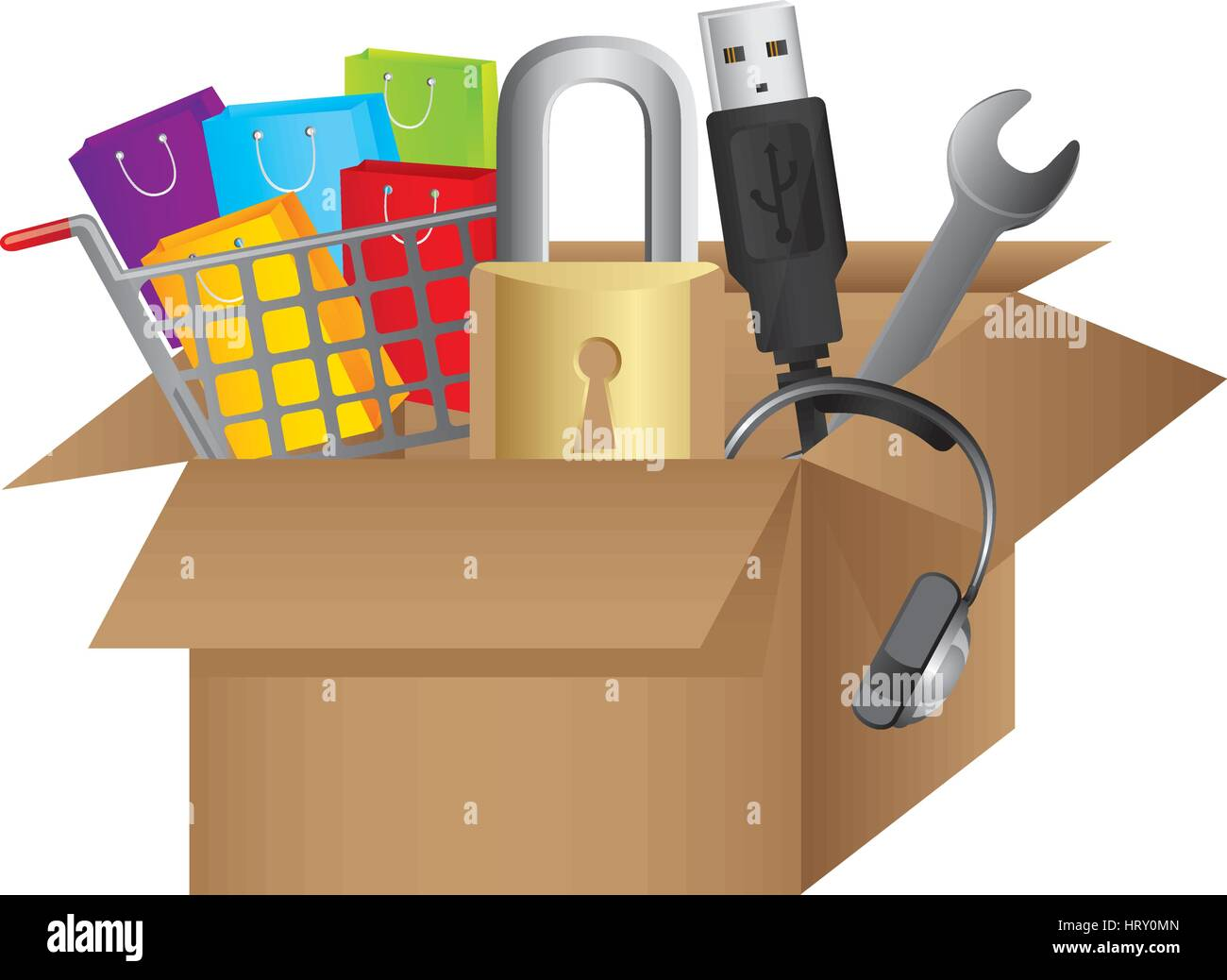 color silhouette with box obsolete objects - Stock Image